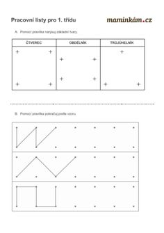 Pracovní listy 1. třída - matematika - počítání do 20 - rýsování Cas, Geometry