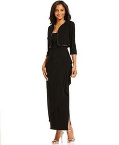 Alex Evenings Draped Bead-Trim Dress and Jacket - Dresses - Women - Macy's