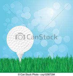 Vector - golf ball on grass - stock illustration, royalty free illustrations, stock clip art icon, stock clipart icons, logo, line art, EPS picture, pictures, graphic, graphics, drawing, drawings, vector image, artwork, EPS vector art