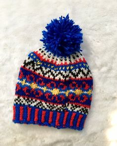 2732304bcef Colorful LATVIAN style FAIR ISLE hat