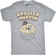Mens English Muffin Funny British Breakfast England Dessert T shirt (Grey) -4XL, Men's, Size: 4XL