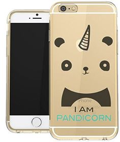 IPhone 6 Clear Case Iam Pandicorn Cute Panda Hipster Love Animal Cool Funny Teen Girls UNIQUE Designer CLEAR Transparent Gloss Candy TPU Flexible Slim Case Cover Skin for Apple iPhone 6 4.7 inch