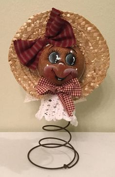 Ginger Girl on VintageRusty Spring Upcycled Christmas Bulb Plastic Housewarming Gift Prim Decor ReadyTo Ship Gingerbread Christmas Bulbs, Prim Christmas, Christmas Crafts, Christmas Ideas, Rusty Bed Springs, Ginger Girls, Prim Decor, Lace Bows, Fabric Bows
