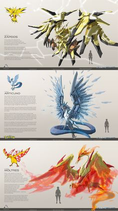 Mecha Legendary Birds - - Drawing Still 2020 Fan Art Pokemon, Pokemon Fusion Art, Pokemon Comics, Pokemon Funny, Cool Pokemon, Pokemon Cards, Pikachu Art, Pokemon Pokemon, Mythical Creatures Art