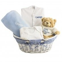 [sc [sc Luxury baby gift basket which includes; a basket, teddy, comforter, babygro and vest. personalise the babygro, comforter and vest with baby's name and the bear with u to 4 lines of text. A beautiful gift for… Continue Reading → Baby Boy Gift Baskets, Baby Boy Gifts, Toddler Gifts, Baby Shower Gifts, Basket Gift, Hamper Basket, Personalised Christening Gifts, Personalized Gifts For Kids, Personalised Baby