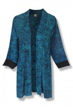 """Open Tunic Cardigan for Plus Size Clothing. """"I found this hand batik in one of my """"new"""" favorite shops. The harmony of color is amazing. It sort of reminds me of stain glass. Coordinates nicely with solid tops and pants. I added black cuffs for a bit of style and finishing. In addition, there is lots of arm room."""" --- Stephen"""