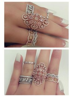 Eve's rather regal stack of rings Diamond Jewelry, Gold Jewelry, Jewelry Rings, Jewelery, Jewelry Accessories, Jewelry Design, Fashion Rings, Fashion Jewelry, Gold Finger Rings