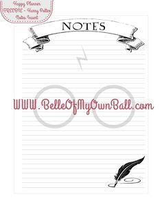 Belle Of My Own Ball: Happy Planner Freebie - Harry Potter Notes Insert (www.BelleOfMyOwnBall.com)
