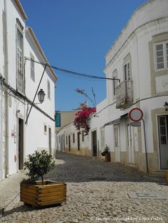Quaint cobbled streets in Loulé, Faro. Portugal.