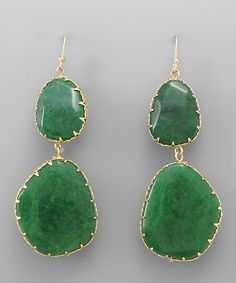 Emerald Agate Abigail Earrings on Emma Stine Limited