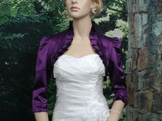Purple 3/4 sleeve satin wedding bolero jacket shrug. $44.99, via Etsy.
