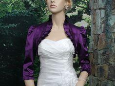 Purple 3/4 sleeve satin wedding bolero jacket shrug. $44.99, via Etsy.