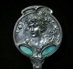 Art nouveau hand mirror by Georges de Fuere, c. 1900 - silver, enamel and glass