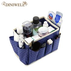DINIWELL Dot Pattern Non-Woven Foldable Home Cosmetic Storage Box With 8 Pockets Household Desktop Sundry Boxes Makeup Organizer