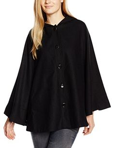 Yumi Women's Wool Mix Cape 3/4 Sleeve Coat, Black, Size 8