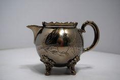Pot à lait métal nickelé ciselé 1900 début XXe