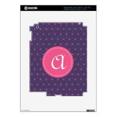 Purple Pink Lazer iPad 3 Decals - monogram gifts unique design style monogrammed diy cyo customize