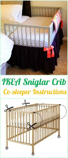 DIY IKEA Sniglar Crib Co-sleeper Instruction - DIY Baby Crib Projects [Free Plans]