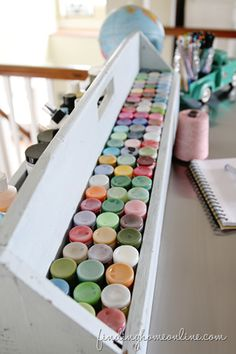 Ikea Hack Craft Table ( Craft Paint Storage!) love the idea of storing paint bottles upside down to better see colors