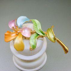 Pastel Enamel Flower Brooch by AntiqueAli on Etsy, $14.99