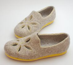 Felted wool flats Holey  organic wool shoes beige by WoolenClogs, $130.00