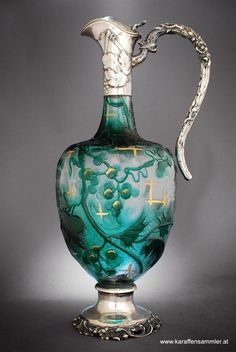 Antique Art-Glass & Silver Claret Jug by Emile Galle - Nancy 1899/1900 photo (© by www.karaffensammler.at)  ♥♡♥
