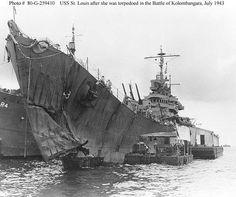 USS Saint Louis CL-49 after The Battle of Kolombangara, 07/13/1943. Took torpedo hit.