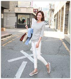J-ANN - Banded-Waist Fray-Hem #Distressed Pants #koreanfashion