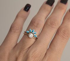 Turquoise and Diamond Engagement Ring Set Turquoise by MinimalVS