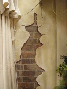 Bilderesultat for cracked wall painting Art Decor, Decoration, Faux Painting Techniques, Cracked Wall, Garden Mural, Faux Brick Walls, Murals Street Art, Mural Painting, Paintings