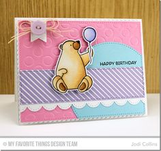 Birthday Bears, Diagonal Stripes Background, Birthday Bears Die-namics, Blueprints 20 Die-namics, Polka Dot Cover-Up Die-namics, Stitched Circle STAX Die-namics, Stitched Fishtail Flags STAX Die-namics, Stitched Scallop Edges Die-namics, Vertical Stitched Strips Die-namics - Jodi Collins  #mftstamps