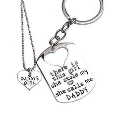O.RIYA Father Daughter Keychain & Daddys Girl Necklace Set  There's This Girl Who Stole My Heart She Calls Me Daddy  Daddy Gifts From Daughter & Father's Day Gift Daddys Daughter Gifts for Christmas  Daddys Girl Father Daughter Jewelry (Grey)