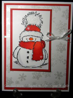 Penny Black Christmas Cards with Snowman Stamped Christmas Cards, Homemade Christmas Cards, Christmas Cards To Make, Xmas Cards, Handmade Christmas, Homemade Cards, Holiday Cards, Penny Black Karten, Penny Black Cards