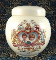 This is a commemorative tea caddy or tea canister made to commemorate the Royal Wedding in 1981 of Prince Charles and Lady Diana Spencer or Princess Diana of England, made by Sadler, England. The tea