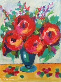 Original Oil Painting ROSES Impressionist Flowers Impressionism Still Life Vase #Impressionism