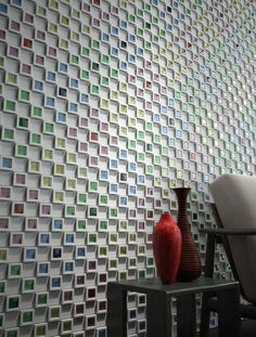 'dent cube' little ceramic cube tiles that you can fill with color tiles or moss or coins or....
