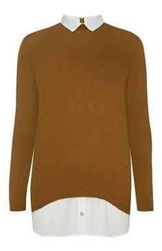 Mostergele 2-in-1 trui met rits aan de achterkant