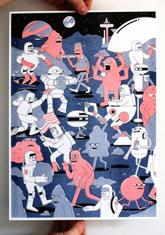 3 Colour Risograph Print Edition of 50 Printed by Hato Press Space Illustration, Creative Illustration, Character Illustration, Illustrations, Digital Illustration, Animal Party, Party Animals, Freelance Illustrator, Screen Printing