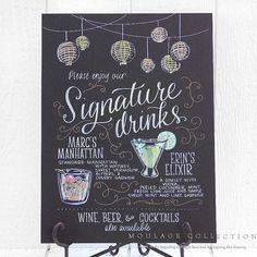 A hand-drawn menu from Moulage Collection can incorporate both your signature drinks, and some of the decor elements from your reception.