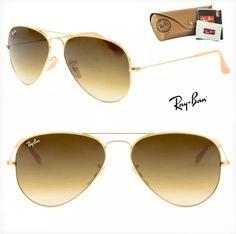 a323121f34839 Óculos de sol Ray ban degrade marrom dourado aviador original.