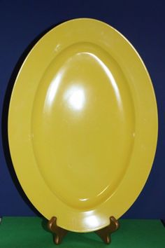 """Fitz and Floyd Yellow Oval Serving Platter F&F ~ Great Easter Egg Plate 14"""" #FitzFloyd #babescollectibles"""