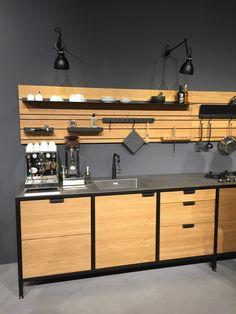 Almari dapur Loft Kitchen, Kitchen Room Design, Diy Kitchen Storage, Home Room Design, Home Decor Kitchen, Interior Design Kitchen, Metal Furniture, Kitchen Furniture, Home Furniture