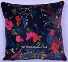 Indian Handmade Velvet Cushion Cover Throw Pillow Traditional Bird Floral Decor  | eBay