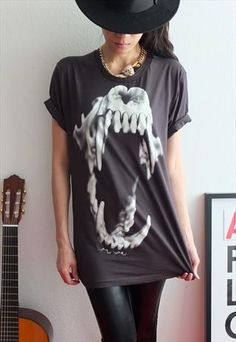 Sabertooth TIGER Skull Animal Punk Rock Print T-Shirt