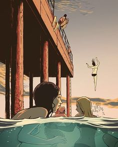 'The Pier' illustration by Guy Shield @guyshield Australia. 'Пирс' иллюстрация…