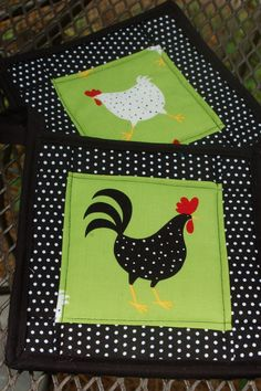Chicken and Rooster quilted pot holder set  ( chicken potholder ) retro lime green. $13.00, via Etsy.