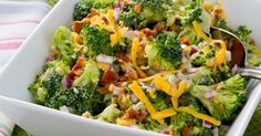 Broccoli Picnic Salad - Food and drink - Pasta Raw Broccoli, Broccoli Salad, Charred Broccoli, Broccoli Recipes, Broccoli Florets, Picnic Salad, Potluck Side Dishes, Paleo, Vegetarian Recipes