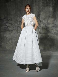 Bohemian Two Piece Bridal Dress - 21 Best Tea Length Wedding Dresses - EverAfterGuide
