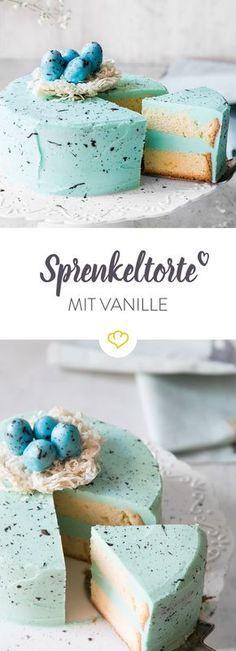 Der Star auf jeder Oster-Kaffeetafel: Die türkise Sprenkeltorte schmeckt nach feiner Vanille und kommt mit einem Nest aus Filoteig und Schokoeiern daher.