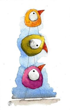Original watercolor painting Lucia Stewart whimsical birds - having some fun #IllustrationArt